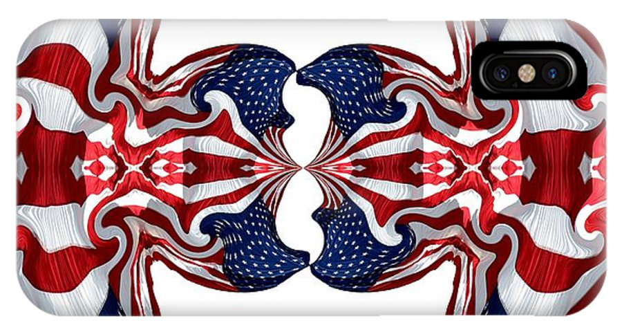 Flags IPhone X Case featuring the photograph American Flag Polar Coordinate Abstract 1 by Rose Santuci-Sofranko