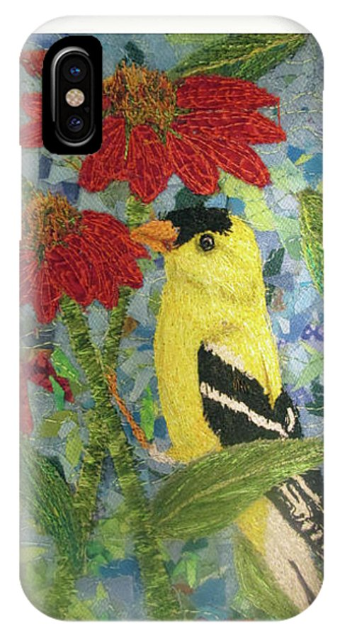 American Goldfinch IPhone X Case featuring the tapestry - textile American Goldfinch by Dolores Fegan