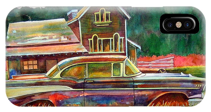 57 Chev IPhone X Case featuring the painting American Heritage by Ron Morrison