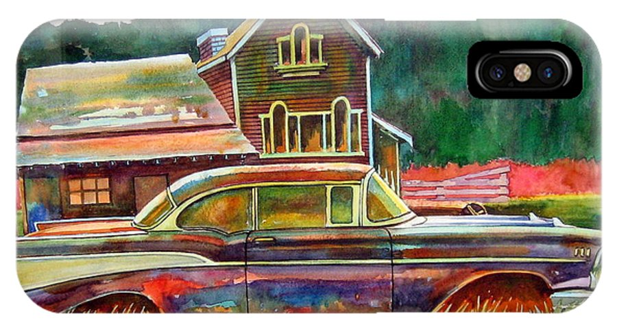 57 Chev IPhone X / XS Case featuring the painting American Heritage by Ron Morrison