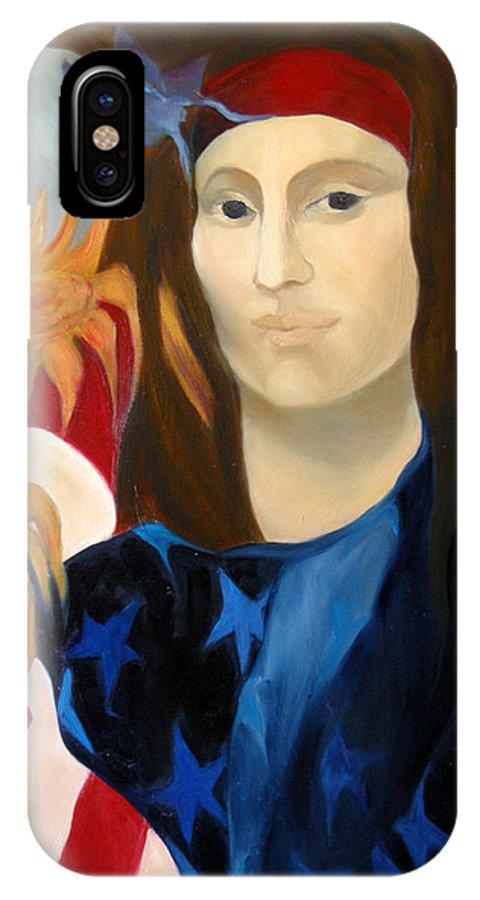 Figurative IPhone X Case featuring the painting American Jokonda by Antoaneta Melnikova- Hillman