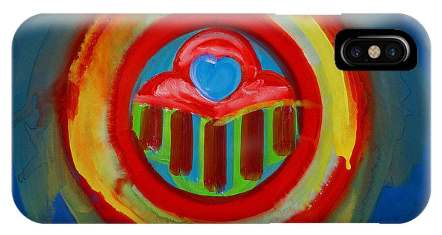 Button IPhone X Case featuring the painting American Love Button by Charles Stuart
