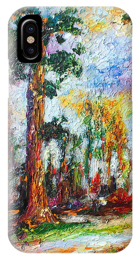 Impressionism IPhone X Case featuring the painting American National Parks Redwood Trees by Ginette Callaway