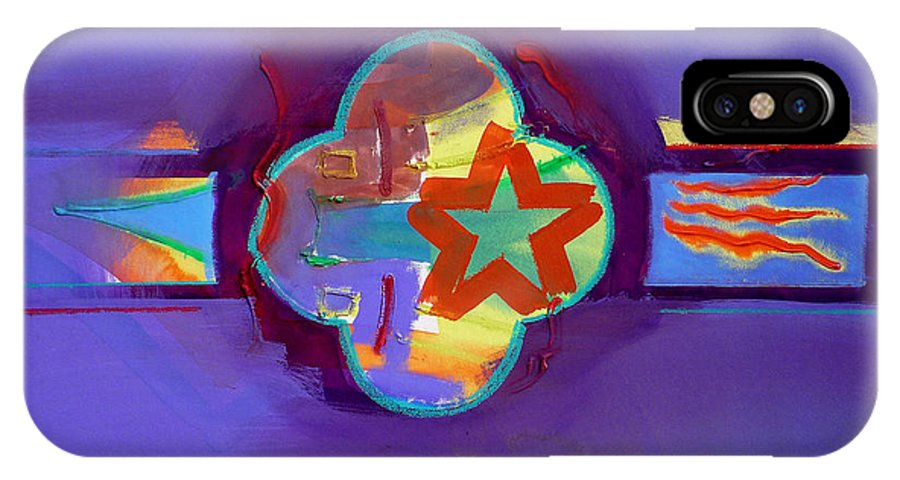 Star IPhone X Case featuring the painting American Neon by Charles Stuart