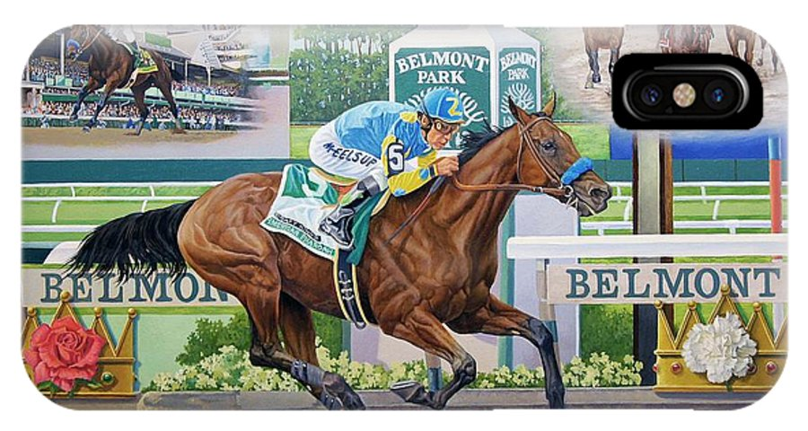 Horse IPhone X Case featuring the painting American Pharoah by Howard DUBOIS