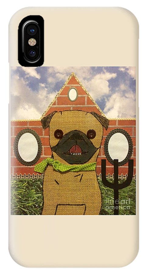 IPhone X Case featuring the mixed media American Pug Gothic by Purely Pugs Design