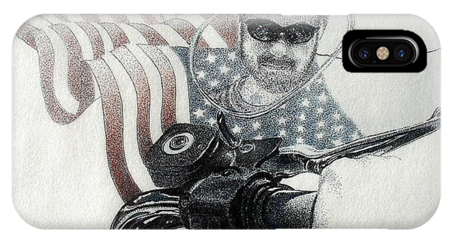 Motorcycles Harley American Flag Cycles Biker IPhone Case featuring the drawing American Rider by Tony Ruggiero
