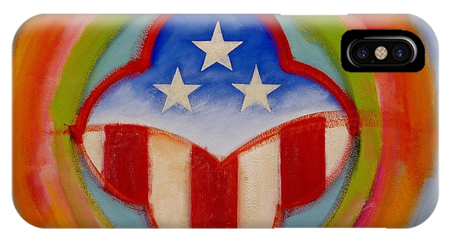 Logo IPhone X Case featuring the painting American Three Star Landscape by Charles Stuart