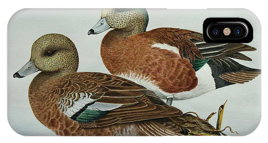 Ducks IPhone X Case featuring the painting American Widgeons by Elaine Booth-Kallweit