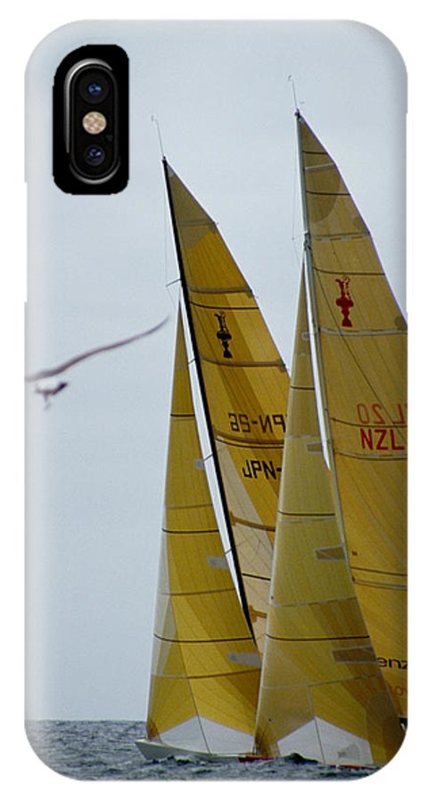 Sailboat IPhone Case featuring the photograph America's Cup Race by Carl Purcell