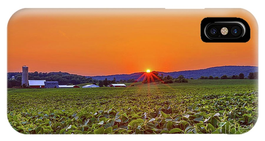Sunset IPhone X Case featuring the photograph America's Heartland by Monica Hall