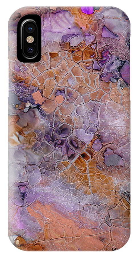 Abstract IPhone X Case featuring the mixed media Amethyst And Copper by Susan Kubes