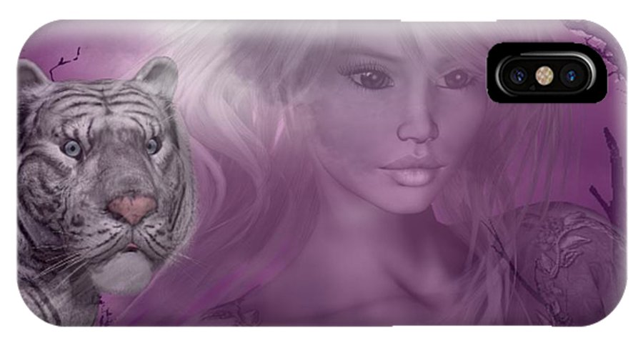 White Tiger IPhone X Case featuring the digital art Amidst The Aura by RiaL Treasures