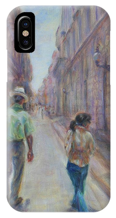 Quin Sweetman IPhone X Case featuring the painting Amigos En Havana by Quin Sweetman