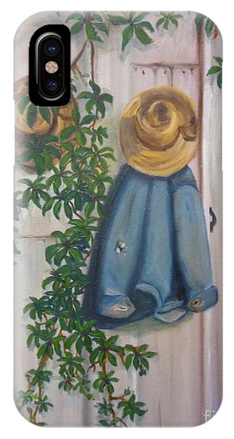 Amish IPhone X Case featuring the painting Amish At Rest by Beverly Hanni