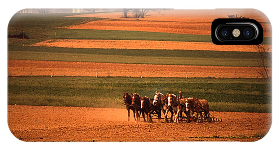 Lancaster IPhone X Case featuring the photograph Amish Country Farm Landscape by Blair Seitz