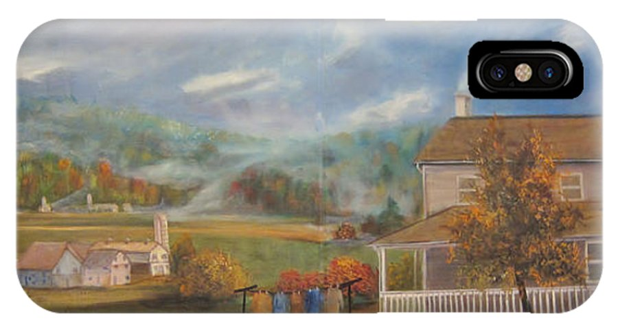 Landscape IPhone X Case featuring the painting Amish Farm by Sherry Strong