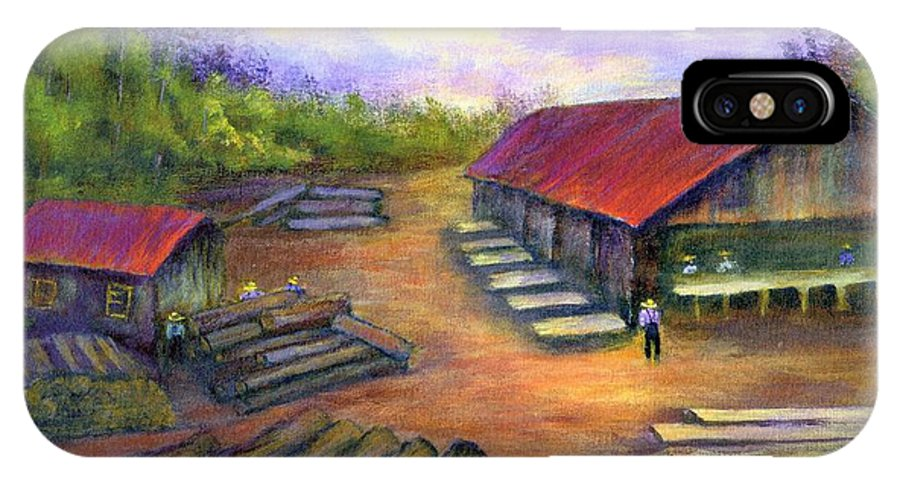 Amish IPhone Case featuring the painting Amish Lumbermill by Gail Kirtz