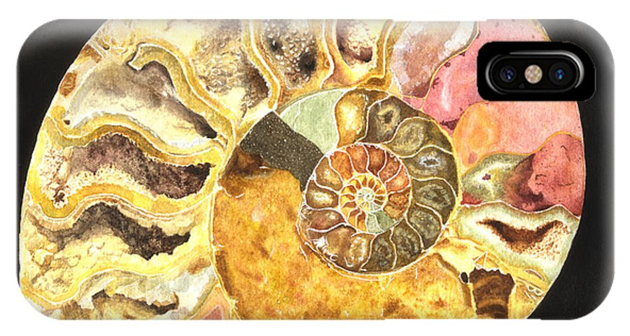 Ammonite Fossil IPhone X Case featuring the painting Ammonite Fossil by Lynn Quinn