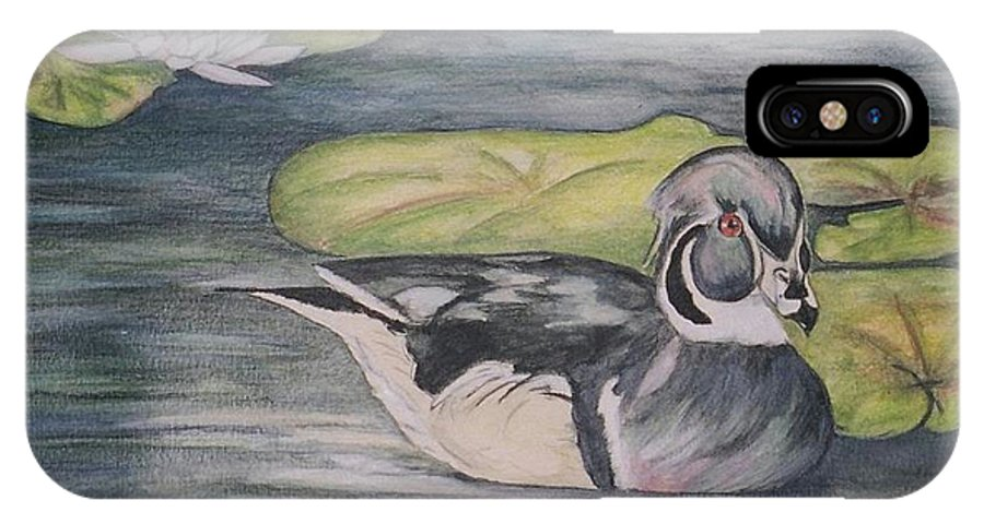 Wood Duck IPhone X / XS Case featuring the painting Among The Lillypads by Debra Sandstrom