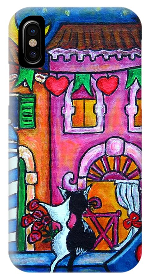 Cats IPhone X Case featuring the painting Amore In Venice by Lisa Lorenz