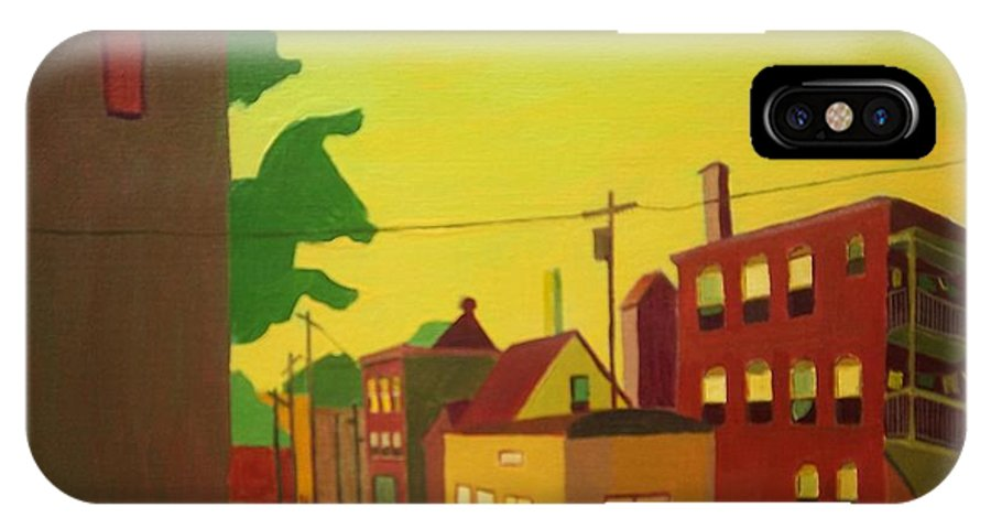 Jamaica Plain IPhone X Case featuring the painting Amory Street Jamaica Plain by Debra Bretton Robinson