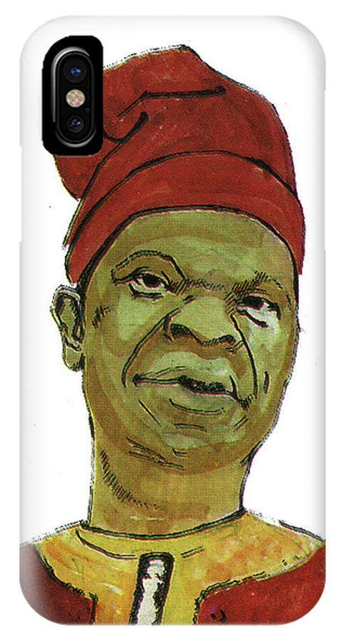 Portraits IPhone X / XS Case featuring the painting Amos Tutuola by Emmanuel Baliyanga