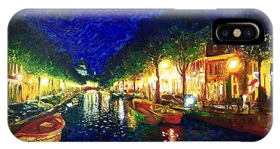 Amsterdam Canals IPhone X Case featuring the painting Amsterdam Canal by Ericka Herazo