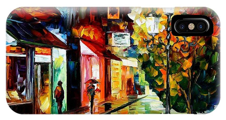Afremov IPhone X Case featuring the painting Amsterdam Night Rain by Leonid Afremov