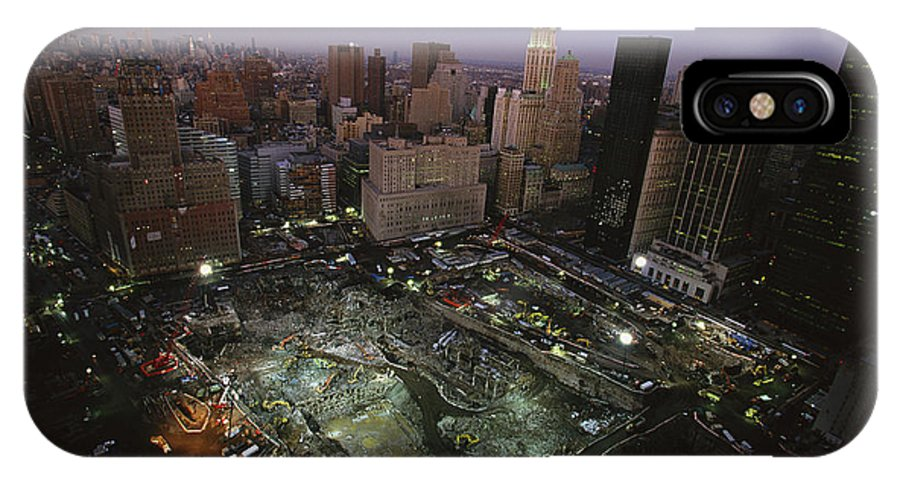 Disasters IPhone X / XS Case featuring the photograph An Aerial View Of Ground Zero by Ira Block