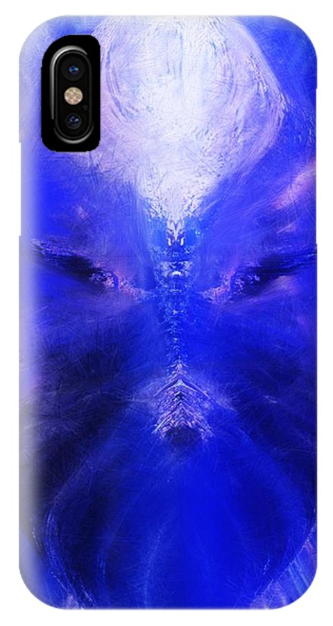 Digital Painting IPhone X Case featuring the digital art An Alien Visage by David Lane
