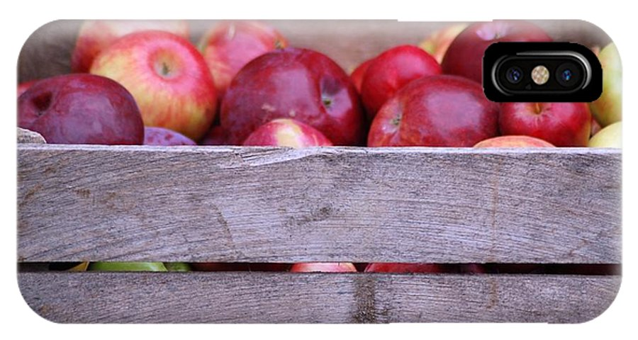 Apples;crate;farm Market;produce;fruit IPhone X Case featuring the photograph An Apple A Day by Cynthia Bowen