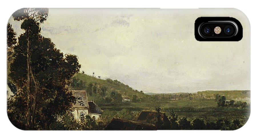 Barbizon School IPhone X Case featuring the painting An Old Chapel In A Valley by Theodore Rousseau