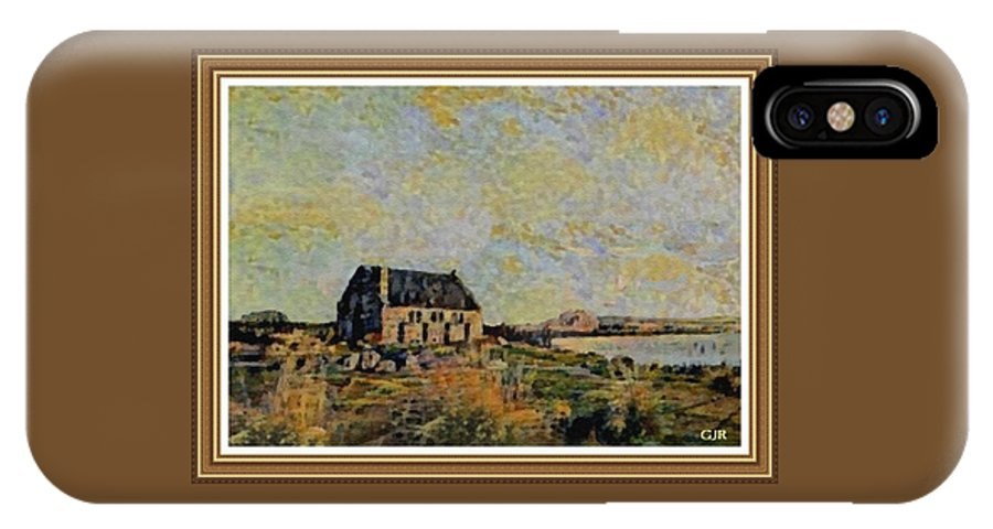 Amsterdam IPhone X Case featuring the digital art An Old Scottish Cottage Overlooking A Loch L A S With Decorative Ornate Printed Frame. by Gert J Rheeders