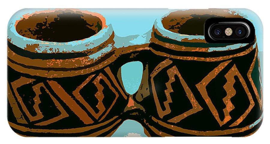 Anasazi IPhone X Case featuring the painting Anasazi Double Mug by David Lee Thompson