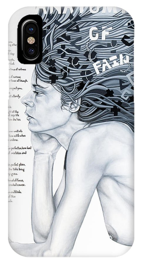 Poetry IPhone X Case featuring the painting Anatomy Of Pain by Judy Henninger