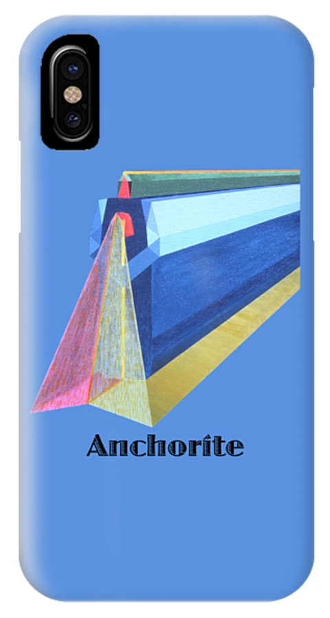 Painting IPhone X Case featuring the painting Anchorite -text by Michael Bellon