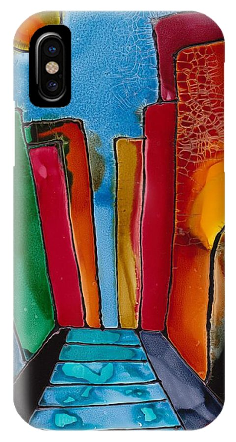 City IPhone X Case featuring the mixed media Ancient City by Susan Kubes
