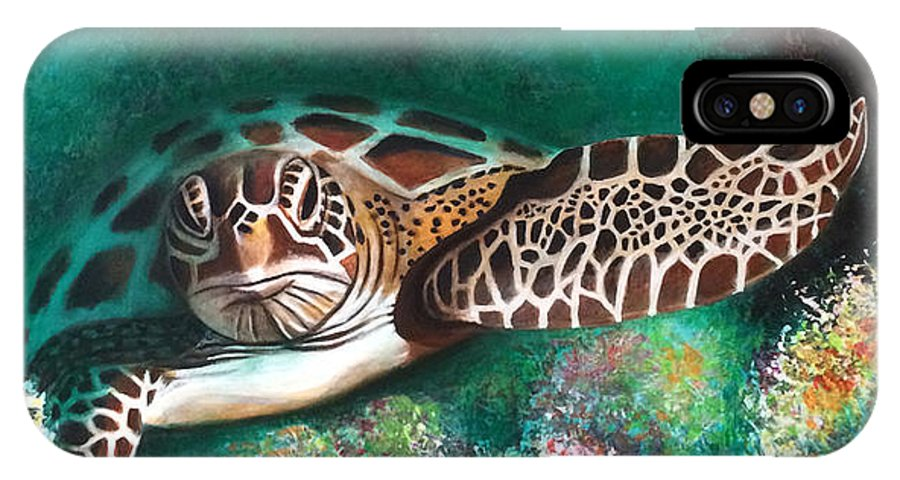 Sea Turtle IPhone X Case featuring the painting Ancient Lineage by Jill English