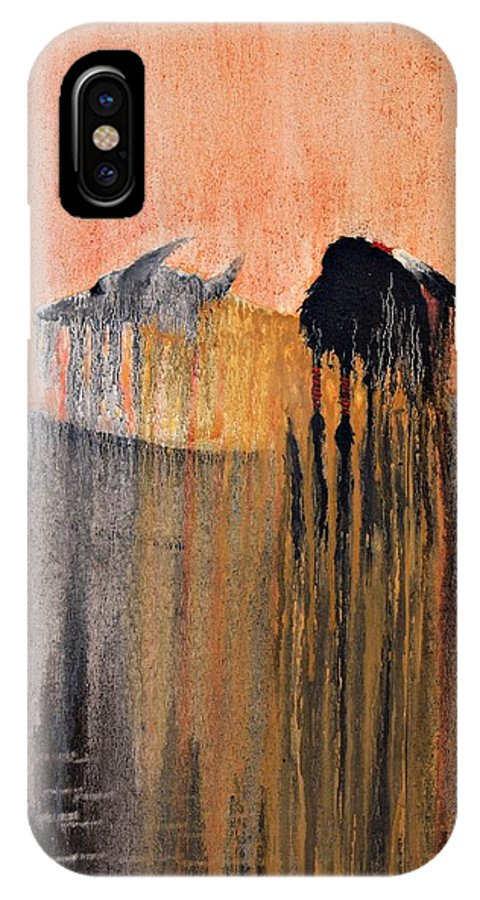 Art IPhone X Case featuring the painting Ancient Paryer by Patrick Trotter