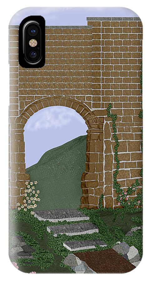 Irish Ruins IPhone X Case featuring the painting Ancient Walls by Anne Norskog