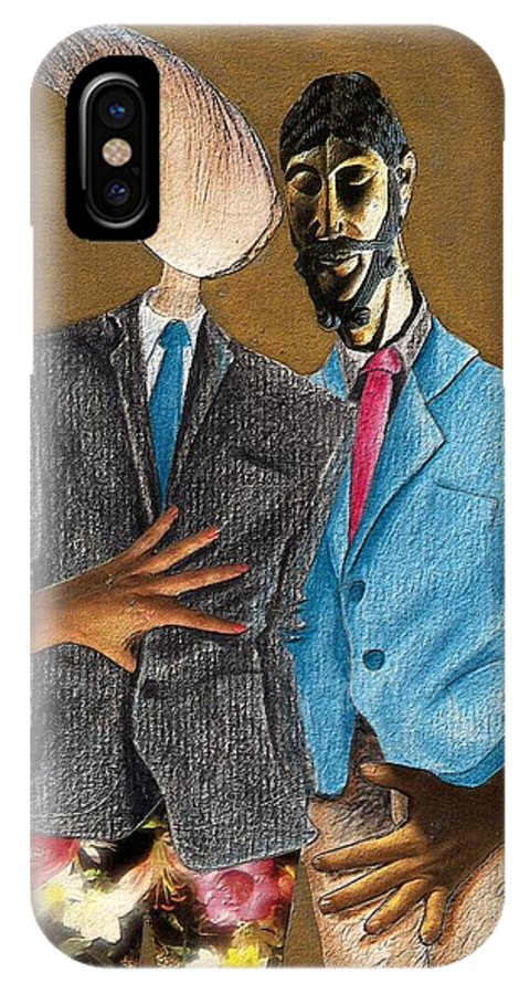 Sex Gay Androginality Couple Love Relation IPhone Case featuring the mixed media Androginality by Veronica Jackson