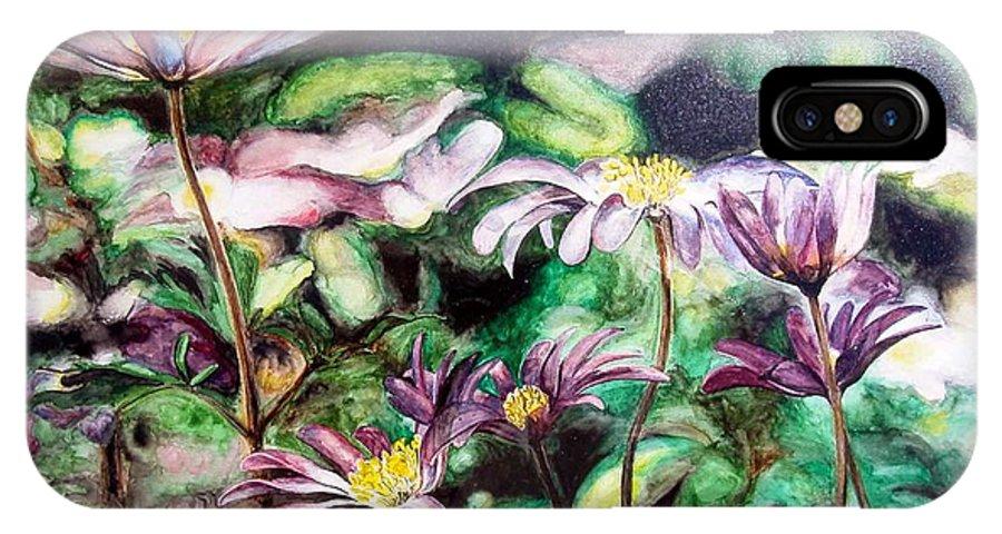 Floral Painting IPhone X Case featuring the painting Anemones Japonaises by Muriel Dolemieux