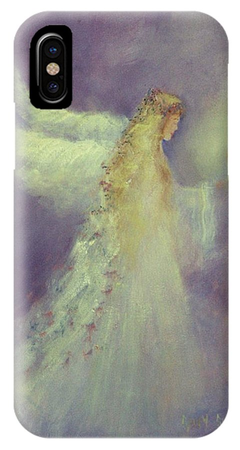 Angels IPhone X Case featuring the painting Angel Bright by Sally Seago