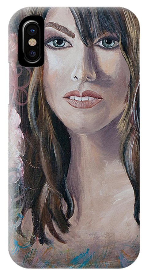 Acrylic IPhone X Case featuring the painting Angel Eyes by Olga Smith