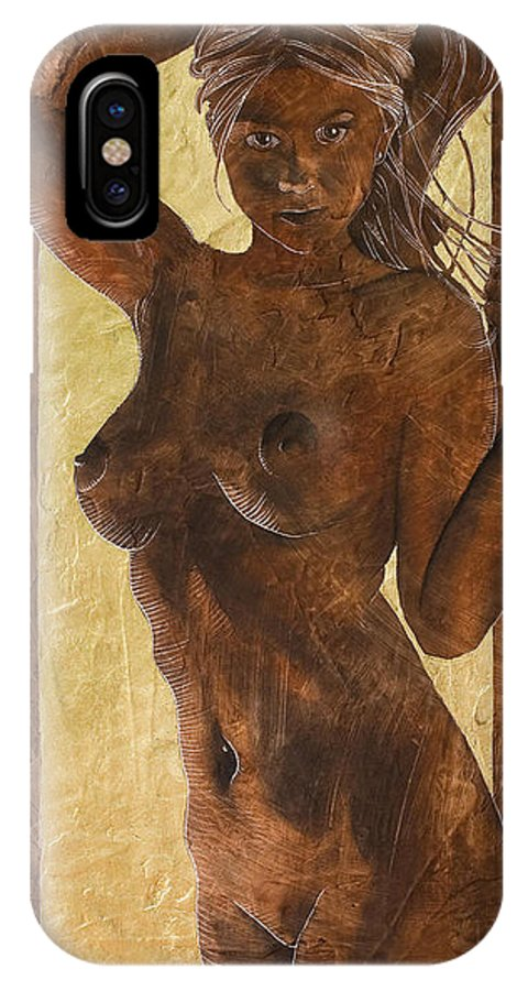 Nude IPhone X Case featuring the painting Angel In Gold by Richard Hoedl