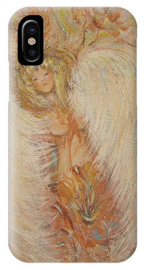 Angel IPhone X Case featuring the painting Angel Loves You by Natalie Holland