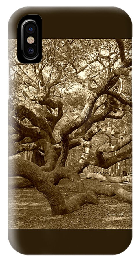 Sepia IPhone X Case featuring the photograph Angel Oak in Sepia by Suzanne Gaff