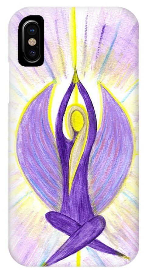 Angel IPhone X Case featuring the painting Angel Of Contemplation by Konstadina Sadoriniou