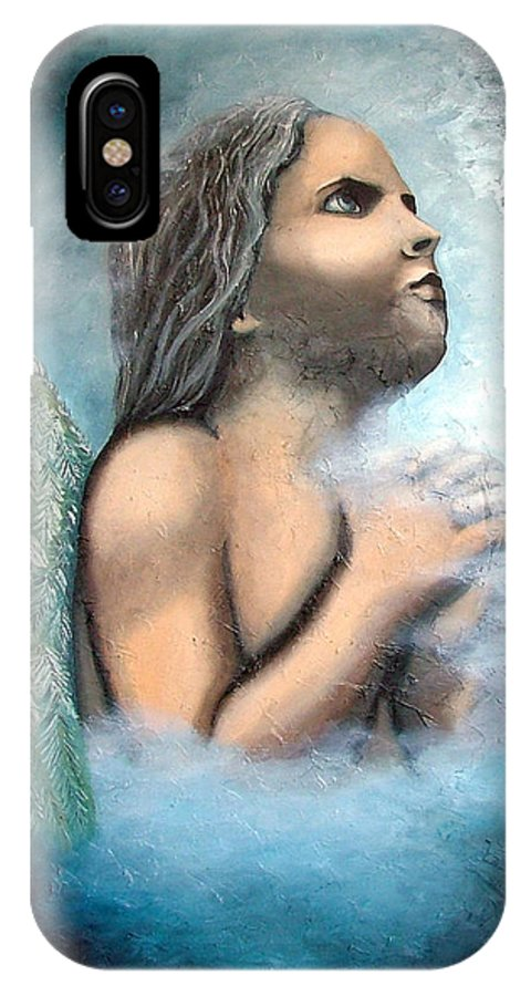 Angel IPhone X Case featuring the painting Angel Of Faith by Elizabeth Lisy Figueroa